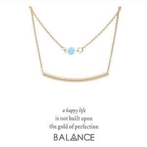 Jewelry - Dainty Gold Bar Blue Gem Layered Necklace & Card